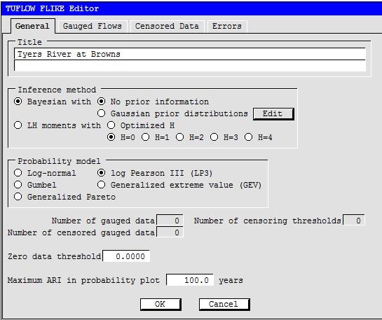 Figure 5. Edit the TUFLOW FLIKE Editor dialog 'General' tab