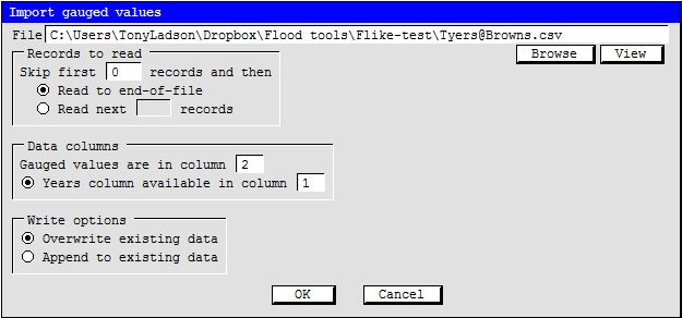 Figure 7: Browse to the csv file with the annual flood data
